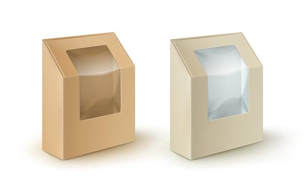 茶色の空白の段ボールの長方形はサンドイッチのための箱の包装を取り去ります