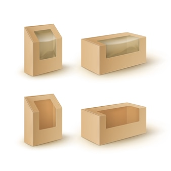 브라운 공백 마분지 장방형은 샌드위치를 위해 포장하는 상자를 나 릅니다