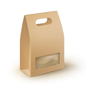 茶色の空白の段ボールの四角形を奪うハンドルランチボックスの包装のサンドイッチ、食品、ギフト、プラスチック製のウィンドウと他の製品のモックアップをクローズアップホワイトバックグラウンド上に分離