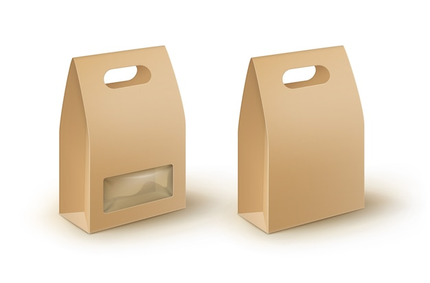 茶色の空白の段ボールの長方形はサンドイッチのためのハンドルランチボックスの包装を取り去ります