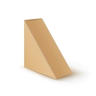 브라운 공백 마분지 삼각형은 샌드위치를 위해 포장하는 상자를 나 릅니다