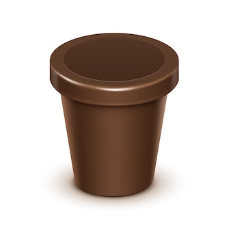 초콜릿 패키지 디자인에 대 한 갈색 빈 식품 플라스틱 욕조 양동이 컨테이너 최대 가까이 흰색 배경에 고립 모의