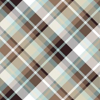 Brown blue diagonal check plaid seamless pattern