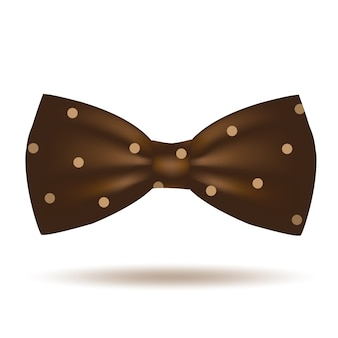 Brown bow tie icon isolated on white background