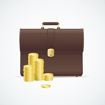Brown briefcase, cuitcase and money concept isolated on white background.