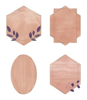 幾何学的な多角形のゴールデンラインフレームと茶色のブラシストローク水彩画。