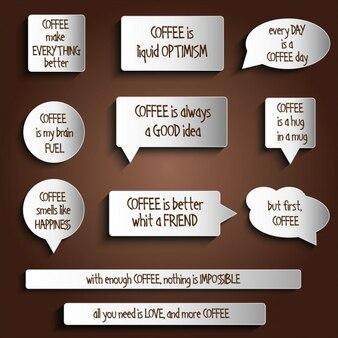 タグは、コーヒーに関するメッセージとボタンのステッカーをラベル