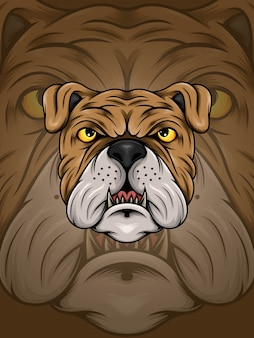 Brown bulldog head illustration