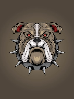 Brown bulldog head with metal thorn collar illustration