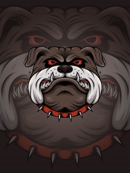Brown bulldog head with red thorn collar illustration