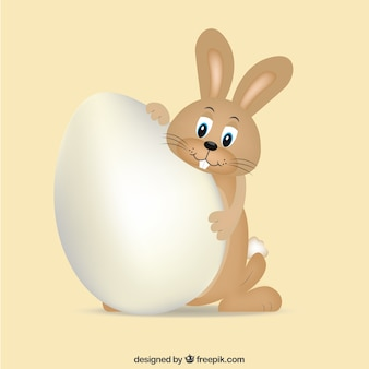 Brown bunny with easter egg