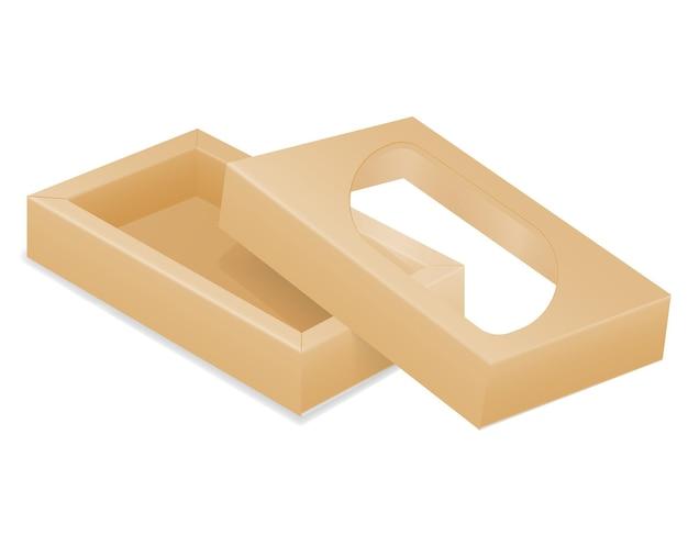 Коричневая картонная упаковочная коробка иллюстрации, изолированные на белом фоне