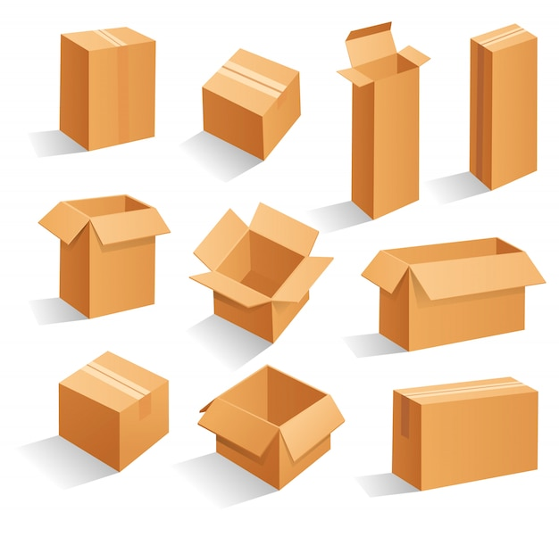 Brown cardboard packaging boxes.