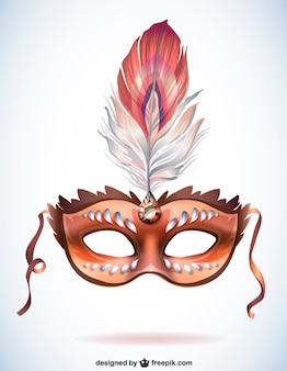 Brown carnival mask with a feather