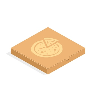 Brown carton packaging pizza box in flat style. cardboard box for pizza isolated.