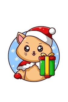 크리스마스 선물 하나를 가져 오는 갈색 고양이