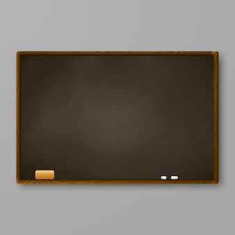 Brown chalkboard on gray wall. blackboard with chalk and eraser.