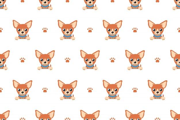 Brown chihuahua dog seamless pattern