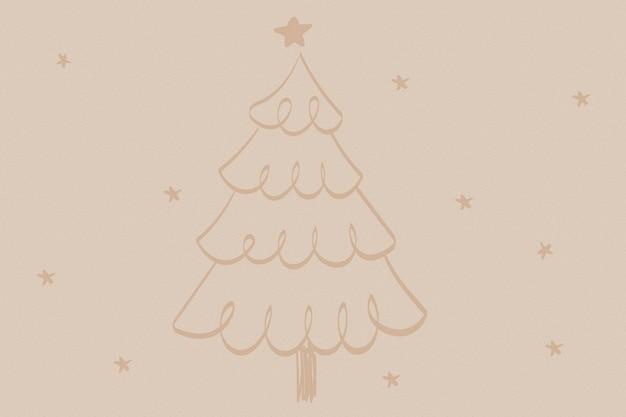 Коричневый новогодний фон, милое дерево каракули вектор