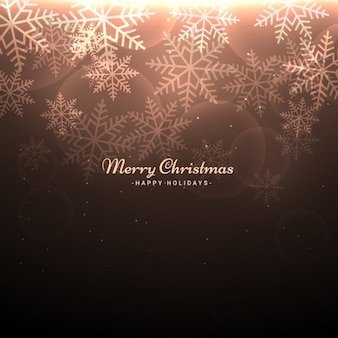 Brown christmas background with snowflakes