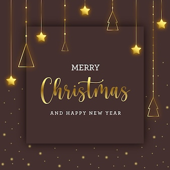 金色の装飾がぶら下がっている茶色のクリスマスカード