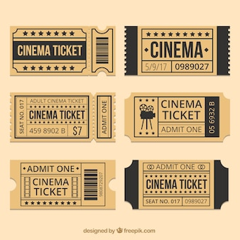 Brown cinema tickets with black details