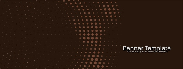 Brown circular halftone design banner template