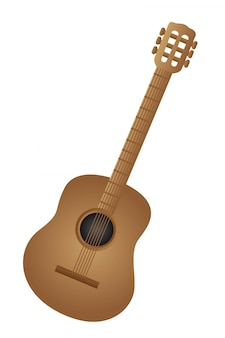 Brown classical acoustic guitar isolated vector illustration