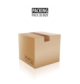 Brown closed carton delivery packaging box with fragile signs isolated.