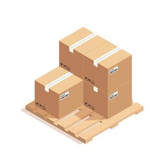 白で隔離される木製パレットに壊れやすいサインが付いている茶色の閉じたカートン配達包装箱