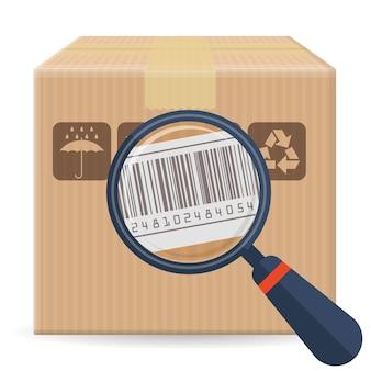 Коричневая закрытая картонная коробка для упаковки пакетов с хрупкими знаками и штрих-кодом, изолированные на белом фоне. шаблон для доставки, доставки и почтового обслуживания.