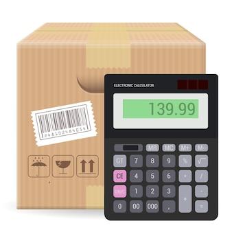 電卓で白い背景に分離された壊れやすい看板とバーコードと茶色の閉じたカートン小包包装ボックス。送料、梱包、配送価格を計算するためのテンプレート。