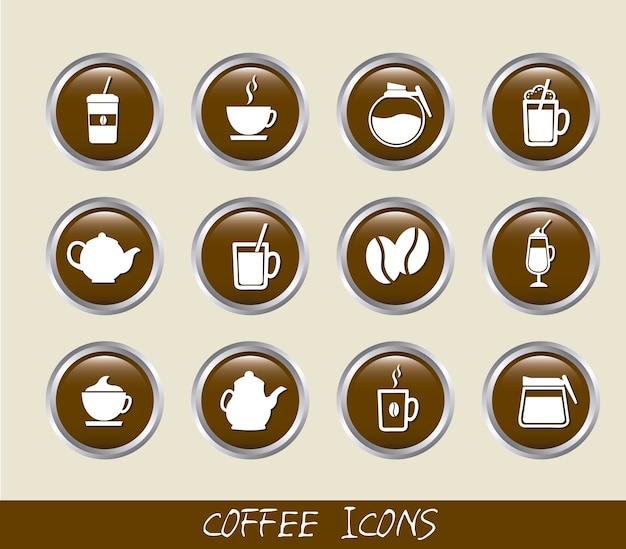 Коричневый кофе кнопки изолированы над бежевый фон вектор