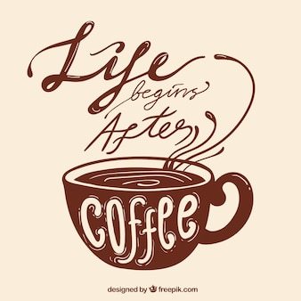 Brown coffee design with lettering