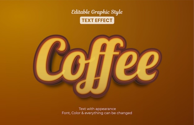 Коричневый кофе, текстовый эффект в редактируемом графическом стиле