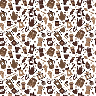 Brown coffee seamless pattern
