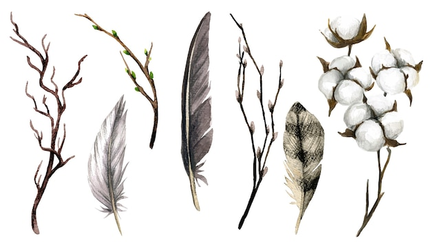 Brown collection of feathers branches and cotton boxes