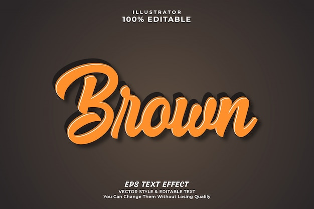 Brown color bold 3d text effect style, editable text style premium