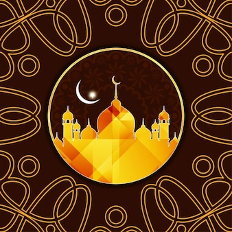 Brown color eid mubarak background with ornamental elements