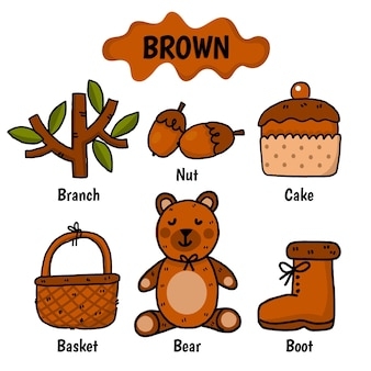Brown color with vocabulary set in english