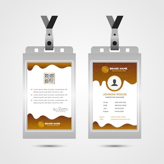 Brown corporate id card design template, liquid concept