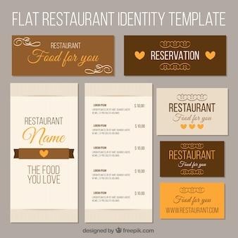 レストランのブラウンコーポレートアイデンティティ