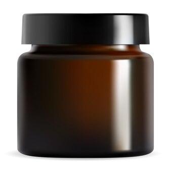 Brown cosmetic cream jar, black lid. container