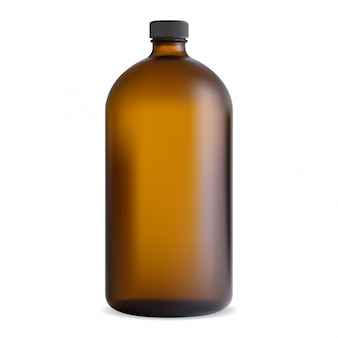 Brown cosmetic or medical bottle with black cap