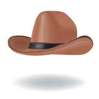Коричневая изолированная ковбойская шляпа.