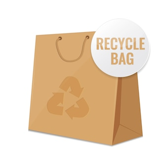 Brown craft recycle paper bag.