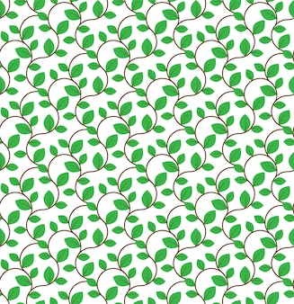 Brown curly branches with green leaves seamless pattern