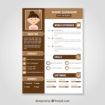 Brown curriculum template with flat design