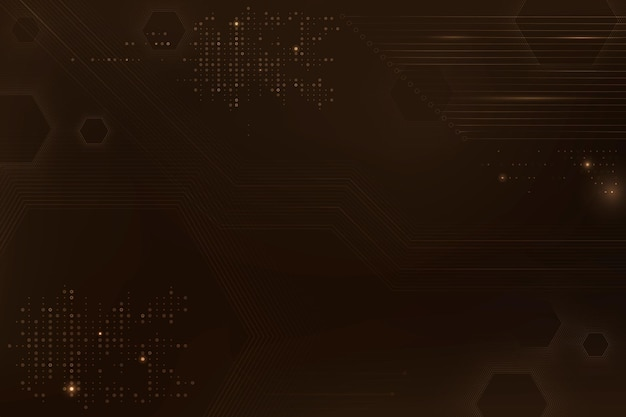 Brown data technology background vector with circuit board
