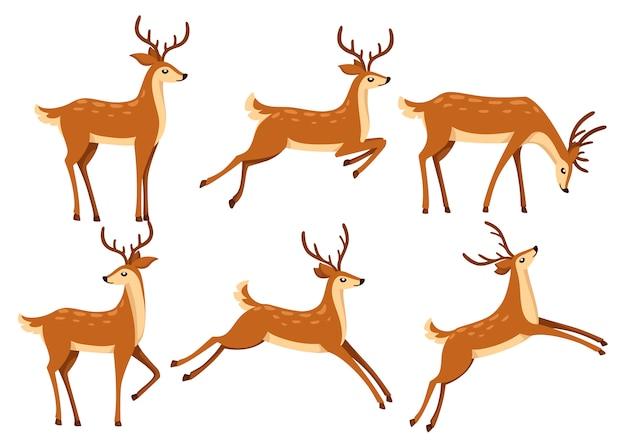 갈색 사슴 아이콘 세트입니다. 사슴은 달리고 점프합니다. 발굽이있는 반추 동물. 만화 동물. 뿔을 가진 귀여운 사슴. 흰색 배경에 그림